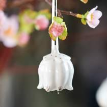 Koristekellot kukan muotoisia valkoisia, kultaisia 4kpl