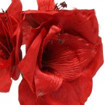 Amaryllis punainen keinotekoinen silkkikukka kolme kukkaa H40cm