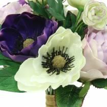 Kukkakimppu anemoneilla ja ruusuilla violetti, kerma 30cm