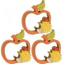 Koristeellinen hahmo syksy, omena ja siili, puukoriste 16,5×15cm 3kpl.