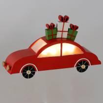 Jouluauto LED-punaisella metallilla 25cm H14,5cm akulle.