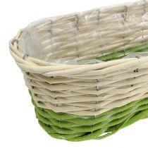 Parvekelaatikko soikea 48x18cm H14cm kerma, vihreä