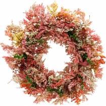 Keinotekoiset kukat seppele kanervaseppele vaaleanpunaiset silkkikukat