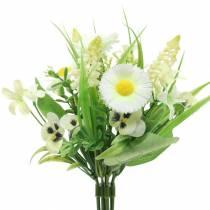 Kevään kukkakimppu, jossa on ristikko ja hyasintti keinotekoinen valkoinen, keltainen 25cm