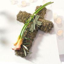 Kukka vaahtomuoviristi iso vihreä 53cm 2kpl hautakoriste