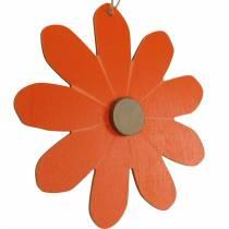Kukka riipus, koriste kukkia oranssi ja valkoinen, puinen koriste, kesä, koriste kukkia 8kpl