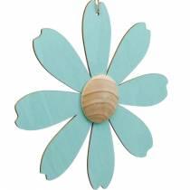 Riippuvat puukukat, kevät koristelu, puukukka vaaleanpunainen ja sininen, kesä, deco kukkia 4kpl