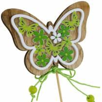 Kukka tulppa perhonen puu kevät koriste tikulla 12kpl