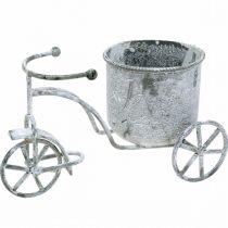 Kukkaruukku polkupyörä metalli vintage valkoinen pesty 24×13×14cm