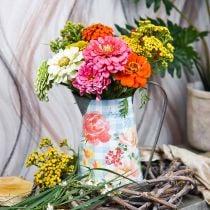 Kukka maljakko koristeellinen ruukku metalli vintage puutarha sisustus planter H23cm