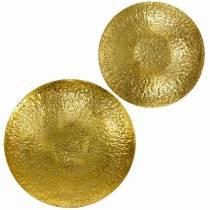 Kultainen koristekulho metallia Ø35 / 46cm, 2 kpl