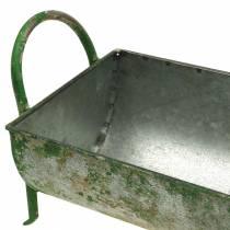 Koristeellinen sinkkikouru istutettaviksi kahvoilla harmaa, vihreä 60 / 43cm 2 kpl