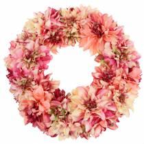 Dahlia kukkaseppele vaaleanpunainen, kerma Ø42cm