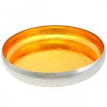 Koristeellinen kulho Metalli Pyöreä Kultainen