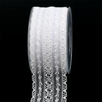 Koristeellinen nauhapitsi 55mm 20m valkoinen
