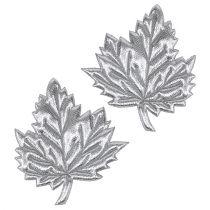 Koristeelliset lehdet silkkiä 5cm hopea 60p
