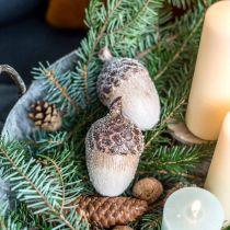 Koristeelliset tammenterhot luminen, keraaminen koriste, adventti, talvi syksy koriste L9,5 4kpl