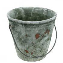 Kasviämpäri, puutarhakoriste, keraaminen ämpäri, istutin antiikkisen näköinen Ø16cm H13,5cm