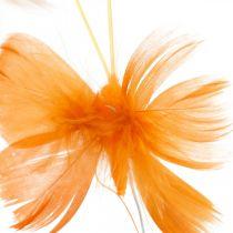 Perhosia oranssin sävyissä, kevätkoriste höyhenperhosia langalla 6kpl