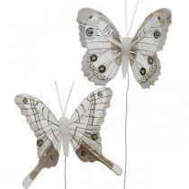 Koristeelliset perhoset valkoinen, ruskea sulka perhonen langalla 7,5cm 6kpl 6kpl