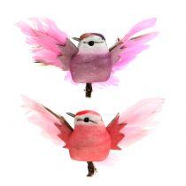 Koristeelliset linnut kiinnikkeellä vaaleanpunainen / violetti 9cm 8kpl