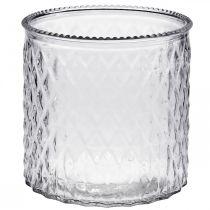 Koristelasi, lyhty timanttikuviolla, lasipurkki Ø15cm K15cm