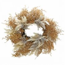 Deco seppele Pampas ruoho keinotekoinen kerma, ruskea oviseppele Ø60cm