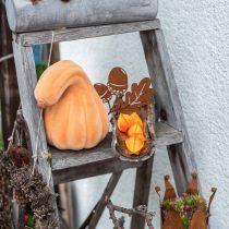 Deco kurpitsa kaareva oranssi flokkainen keinotekoinen koristeellinen kurpitsa 18cm