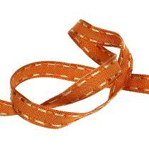 Koristeellinen nauha oranssi, langanreuna 15mm 15m