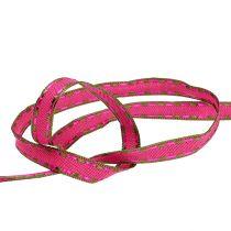 Koristeellinen nauha vaaleanpunainen, langanreuna 15mm 15m