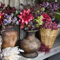Koristelu kukkakimppu keinotekoinen Dahlia ja marjat violetti 45cm