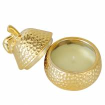 "Tuoksukynttilä ""Magnolia & Pear Blossom"" päärynäkorukotelossa kulta Ø7.4cm H9cm"