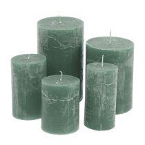 Yksiväriset kynttilät, vihreät, erikokoiset