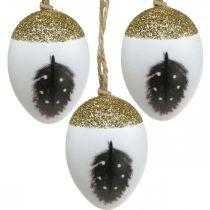 Jalot munat ripustettavaksi, kevät, pääsiäismunat höyhenaiheella, koristeelliset munat puulaatikossa, pääsiäiskoriste 6kpl.