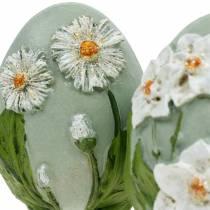 Pääsiäismunat kukka-aiheisella koiranputkella ja narsissilla sininen, vihreä rappaus 2kpl