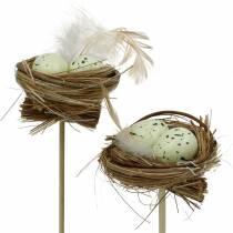 Koristeellinen tulppalinnun pesä, pääsiäiskoriste, munanpesä 23cm 6kpl