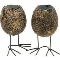 Munakuppi istutukseen jaloilla, pääsiäismuna, muna linnunjaloilla, pääsiäiskoriste Musta kultainen 4kpl