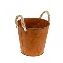 Koristeellinen ruukku kahvoilla, syksyn koriste, metalliruukku ruostumattomasta teräksestä Ø22cm H21cm