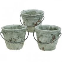 Istutusämpäri, keraaminen astia, ämpärikoriste antiikkisen näköinen Ø11,5cm K10,5cm 3kpl.