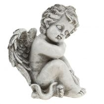 Muistomerkki nukkuva enkeli harmaa 16cm 2kpl
