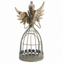 Koristeellinen enkeli metalli antiikkikulta Ø9,2 H22cm