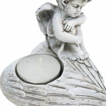 Hautakoristeinen kynttilälyhty enkeli 10cm 2kpl