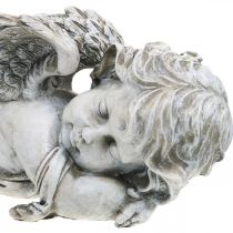 Hautakoriste Enkeli Nukkuva hautaenkeli Harmaa Polyresiini 39×14x13cm