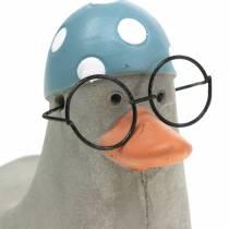 Koristeellinen ankka, lasit ja uimalakki harmaa 10,5cm 4kpl