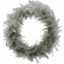 Pääsiäiskoriste Sulkaseppele Suuri vaaleanharmaa Ø40cm kevätkoriste Aitoja höyheniä