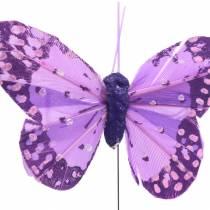 Sulka perhonen langalla vaaleanpunainen, lila 7cm 24kpl