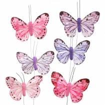 Sulka perhonen metallilanka vaaleanpunainen, violetti 7cm 12 Sivumäärä