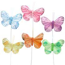 Sulka perhonen langalla värillinen 6cm 12kpl