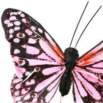 Perhonen langalla vaaleanpunainen 11cm 12kpl
