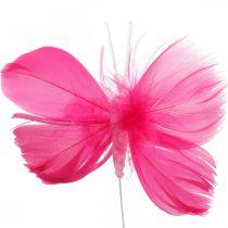 Feather Butterflies vaaleanpunainen / vaaleanpunainen / punainen, koriste perhoset lanka 6kpl